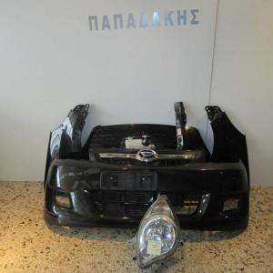 Daihatsu Cuore 2006-2017 μετώπη εμπρός κομπλέ μαύρο:καπό-2 φτερά-ψυγεία-προφυλακτήρας-τραβέρσα μετώπης -φανάρι αριστερό