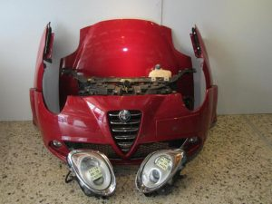 Alfa Romeo Mito 2008-2016 μετώπη-μούρη εμπρός κομπλέ κόκκινη:(καπώ-2 φτερά-2 φανάρια-προφυλακτήρας με αισθητήρες-μετώπη με ψυγεία κομπλέ κ τραβέρσα)