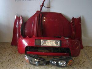 Honda HRV 1999-2001 μετώπη-μούρη κόκκινη: καπό- 2φτερά- 2φανάρια- προφυλακτήρας- τραβέρσα προφυλακτήρα- τραβέρσα άνω- ψυγεία κομπλέ